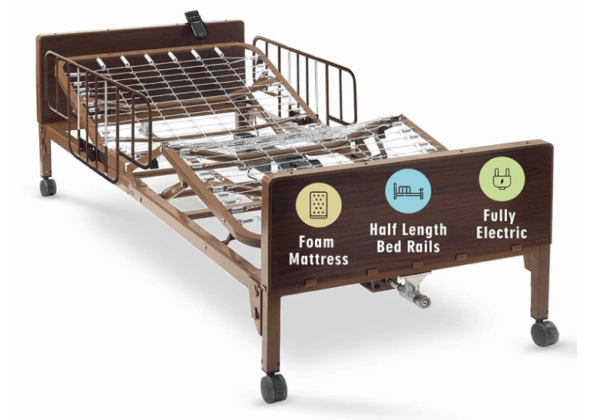 Post-Surgery Supplies - Hospital Bed Electric with Premium Foam Mattress and Half Rails